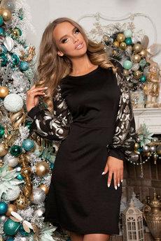 Черное платье с гипюровыми рукавами Open-Style