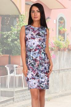 Летнее платье футляр с цветочным принтом Натали
