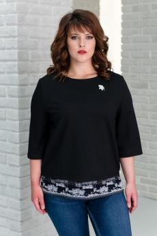 Черная блуза с кружевом Шарлиз