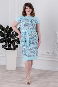 Ментоловое платье с цветами Шарлиз
